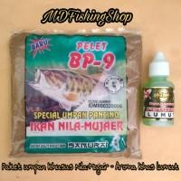 Harga paket umpan spesial ikan nila mujair pelet bubuk bp 9 essence   DEMO GRABTAG