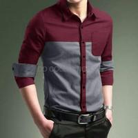 Harga promo kemeja casual pria pl 0 baju cowok semi formal slimfit katun | Pembandingharga.com