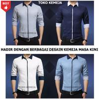 Harga new kemeja polos pria br 3 baju cowok formal slimfit semi casual | Pembandingharga.com