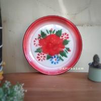 Nampan Enamel Kembang 35 cm Baki vintage jadul Blek Seng
