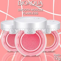 BIOAQUA BLUSH ON CUSHION SMOOTH MUSCLE FLAWLES / 100% LOGO ORIGINAL