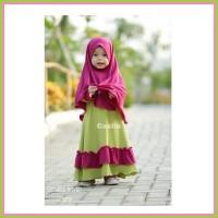 Gamis Anak Syari Polos Kombinasi Warna Gamisila Aisyah Casila Size 0
