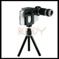 Baru Lensa Tele Telezoom 8X Bonus Mini Tripod Untuk Hp Smartphone