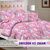 Sprei Katun Motif Unicorn Ice Cream Pink Uk 120x200x20