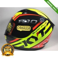 C4MILLE2- HELM KYT R10 SUPER FLUO YELLOW FLUO RED FLUO FULL FACE