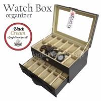 Watch box black cream tempat jam hitam cream kotak jam hitam cream