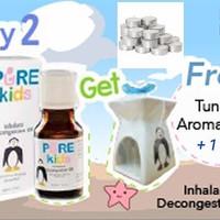 Pure Kids Inhalant 2 Bonus Tungku + Lilin Pereda Hidung Flu Bayi