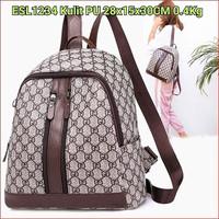 ESL1234 Tas Import Batam Ransel Wanita Motif Merk Brown Double Zipper