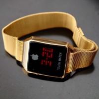 Jam Tangan Pria / Wanita Murah Iphone Touch Magnet Gold