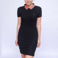 Alinskie Brothers - Dress Zipper Short Motif Daren Hitam Lengan Pendek - Hitam, XS
