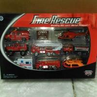 mainan anak laki laki mobilan besi diecast fire rescue 8pcs set 1:62