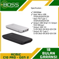 Acmic C10 Pro PowerBank 10000Mah Support QC 3.0 + Power Delivery 3.0