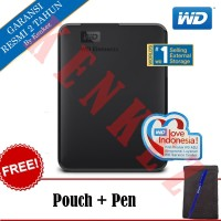 "WD Element Hardisk Eksternal 1TB 2.5"" USB3.0 - Hitam + Pouch + Pen"