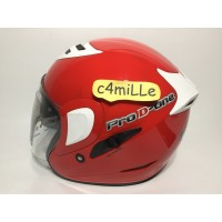 OTOMOTIF21 HELM MDS PRO D ONE SOLID FIRE RED DOUBLE VISOR HALF FACE