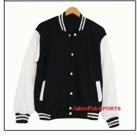 Harga baju murah jaket polos baseball hitam putih sweater pria wanita | Pembandingharga.com