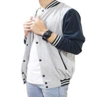 Harga baju murah jaket baseball abu lengan biru navy sweater pria | Pembandingharga.com
