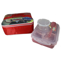 Lunch Box - Kotak Makan 5 Sekat + Lunch Bag CARS