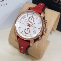 Jam Tangan Wanita Fossil Boyfriend Leather Brown Red Rosegold