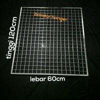 Ram kotak jaring hook chrome 60x120cm tempat gantungan aksesoris