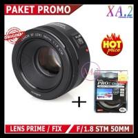 Lensa Fix Canon 50Mm FU002F1.8 Stm ( Paket Uv 49Mm ) Garansi 1 Tahun