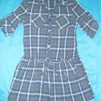 Harga pakaian wanita dress terusan biru kotak kotak bahan adem size m | antitipu.com