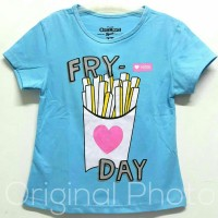 Baju kaos karakter anak perempuan Oshkosh FRY DAY biru 7-10