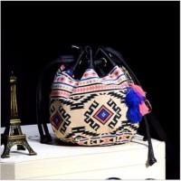 Tas Wanita Tote Bag Ethnic Canvas Drawstring Mini Bucket Backpack