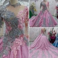 Gaun kebaya pengantin baby pink mix silver model paprika ekor PROMO