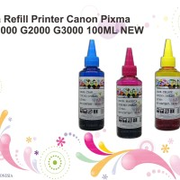 Tinta Refill Printer Canon Pixma DYE G1000 G2000 G3000 100ML NEW