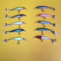 Umpan pancing fisihing lure minnow with feather hooks