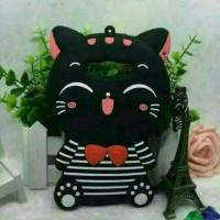 Case Oppo F3 A77 Silikon 4D Mimi Cat Striep + Gantungan Mini Hp