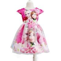 Dress Frozen Warna Pink Gaun Pesta Anak Karakter Frozen Busana Terusan