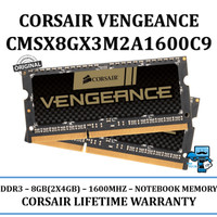 Corsair DDR3 RAM Vengeance Laptop/Notebook 8GB 2x4GB CMSX8GX3M2A1600C9
