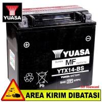 Aki Baterai Motor Besar Moge 12 Volt 12 Ah CCA 200 YUASA YTX14-BS