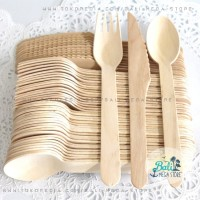 BALI Disposable Wooden Spoon Fork Eco Cutlery Sendok KAYU non Plastik
