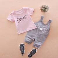 Baju Pakaian Fashion Anak Bayi Cewek Perempuan Kaos Motif Kumis