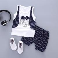 Baju Pakaian Anak Bayi Laki Laki Cowok Kaos Tie Rompi Bahan Adem