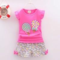 Baju Pakaian Fashion Anak Bayi Cewek Perempuan Kaos Motif Lolipop