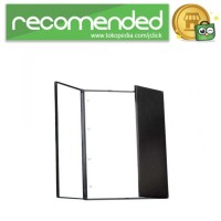 Cermin Makeup Portable Foldable Mirror with LED Light - Hitam