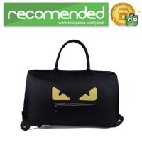 Tas Koper Duffel Trolley - Black Yellow - Monster Eyes