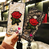 Softcase TPU 3D Flower Bordir Rose Cover Case Casing HP Vivo Y55/Y55s