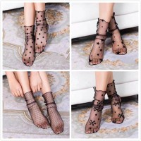 elastic mesh ankle fishnet stocking lace flower
