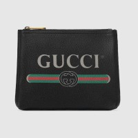 GUCCI LOGO PRINT BLACK LEATHER SMALL LEATHER CLUTCH / POUCH ORIGINAL
