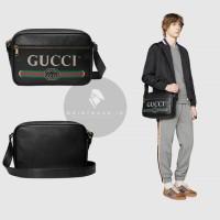 GUCCI LOGO PRINT BLACK LEATHER MESSENGER BAG ORIGINAL   TAS GUCCI
