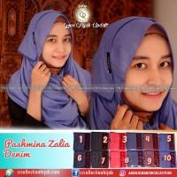 Murah jilbab-hijab pashmina denim polos bahan katun denim