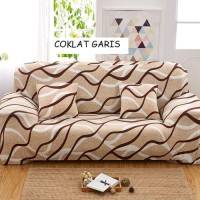 COVER SOFA 2 SEATER FREE 2 SARUNG BANTAL ( COKLAT GARIS2)