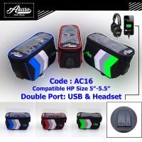 Tas Sepeda Motor AC16 USB | Holder Hp Gojek| Tas Handphone | Akaro