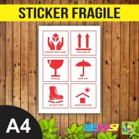 Sticker Fragile Barang Pecah Belah Stiker Handle With Care Uk. A4