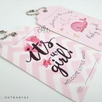 (GHTBABY02) Tag Ucapan hantaran kado hadiah tema baby girl pink