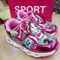 sepatu lampu led anak cewek perempuan frozen import murah promo